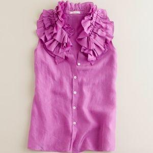 J. Crew azalea Kelsey ruffle sleeveless blouse